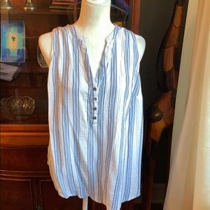 Blue gold and white striped sleeveless tunic